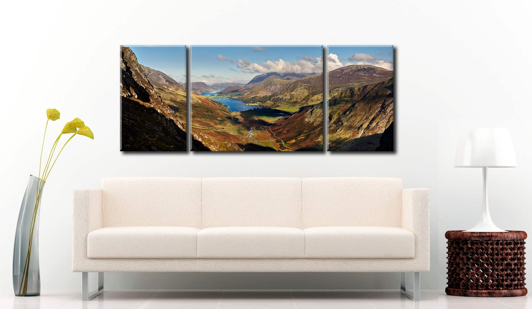Buttermere Valley Green Crag - 3 Panel Wide Mid Canvas on Wall