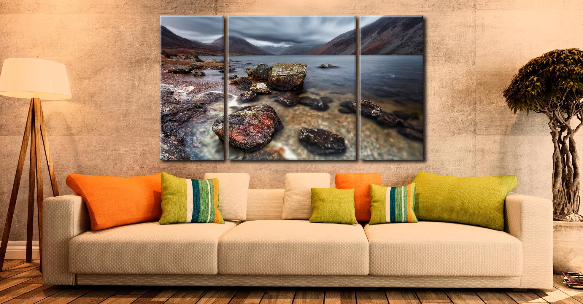 Wast Water Middle Earth - 3 Panel Canvas on Wall