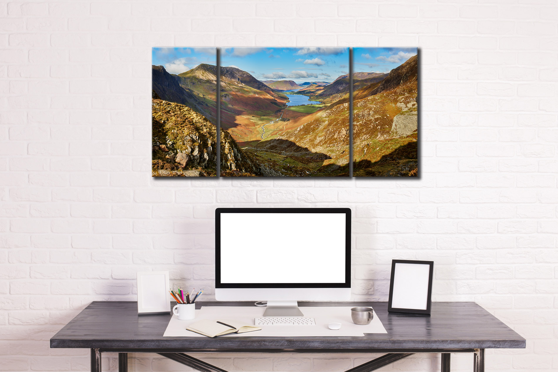 The Buttermere Valley - 3 Panel Wide Centre Canvas on Wall
