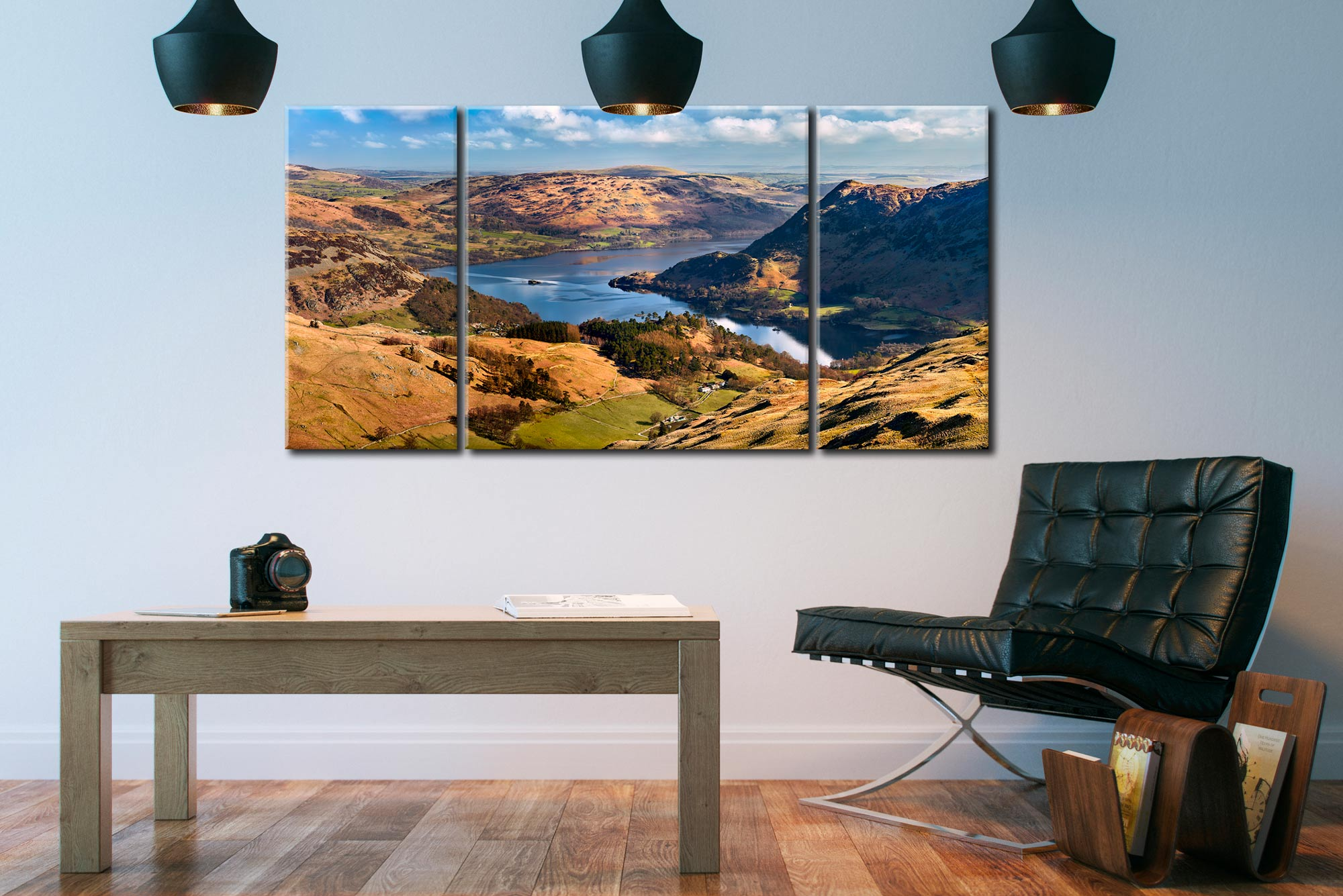 Ullswater From Harrison Crag - 3 Panel Wide Centre Canvas on Wall