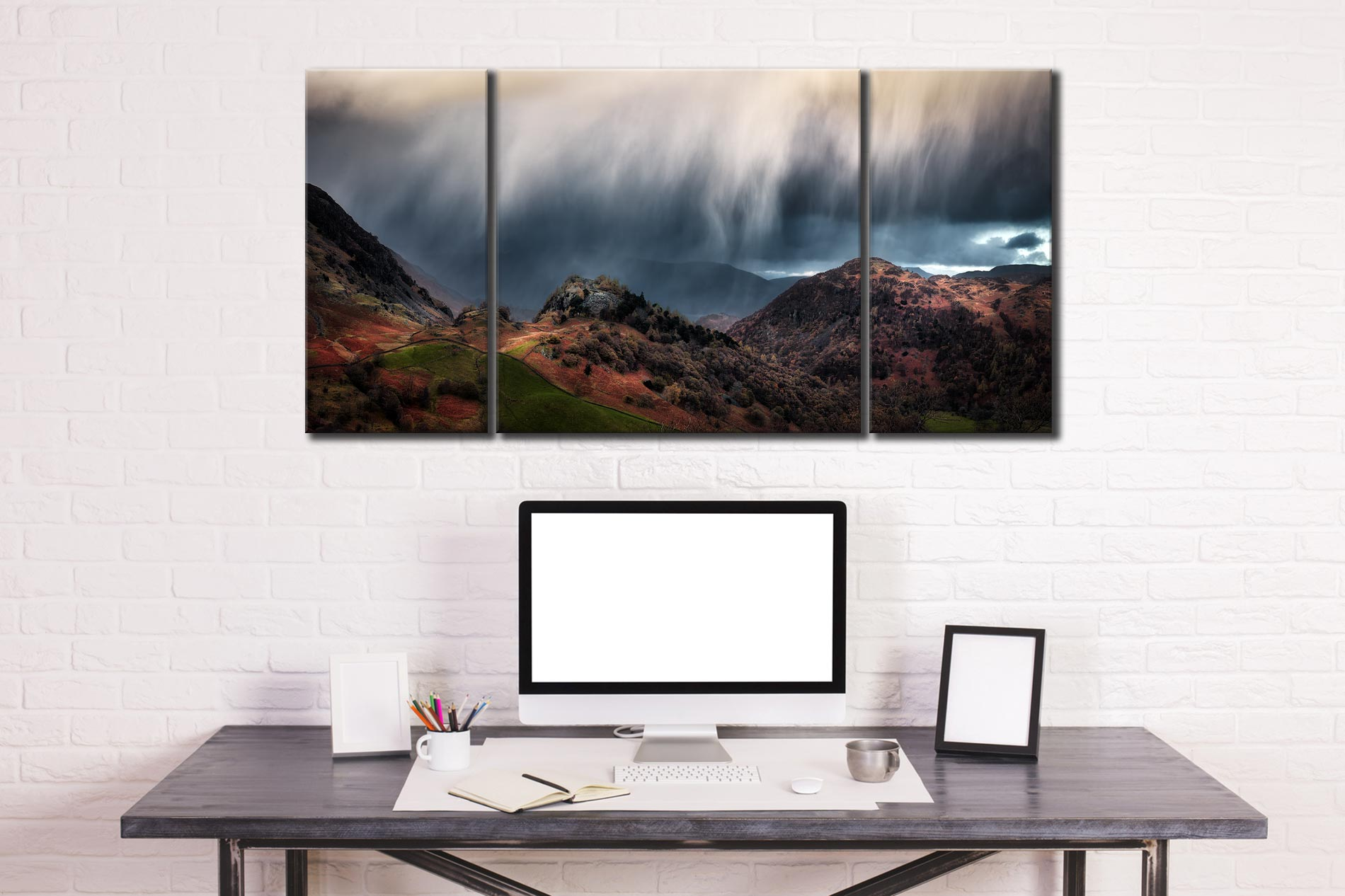 The Rains are a Coming - 3 Panel Wide Centre Canvas on Wall