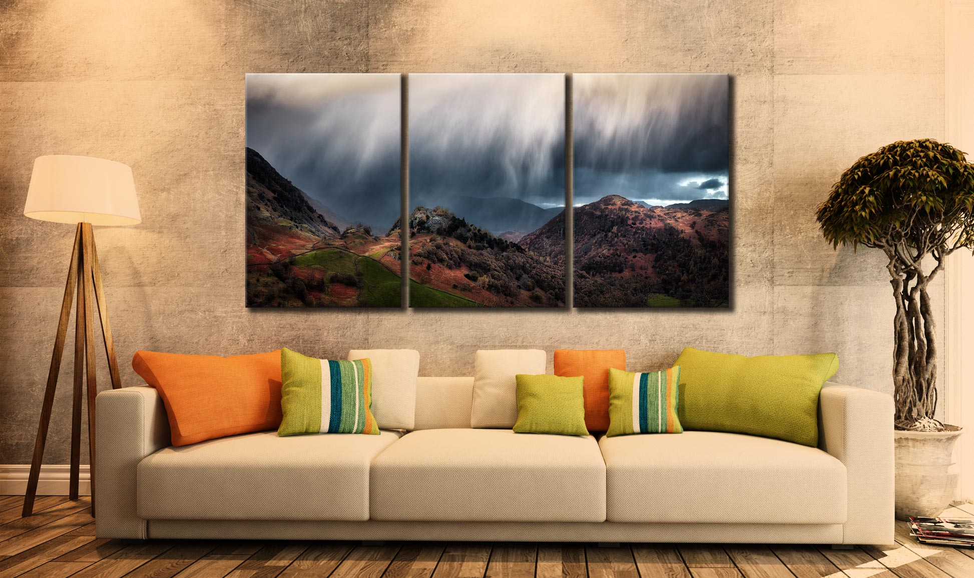 The Rains are a Coming - 3 Panel Canvas on Wall