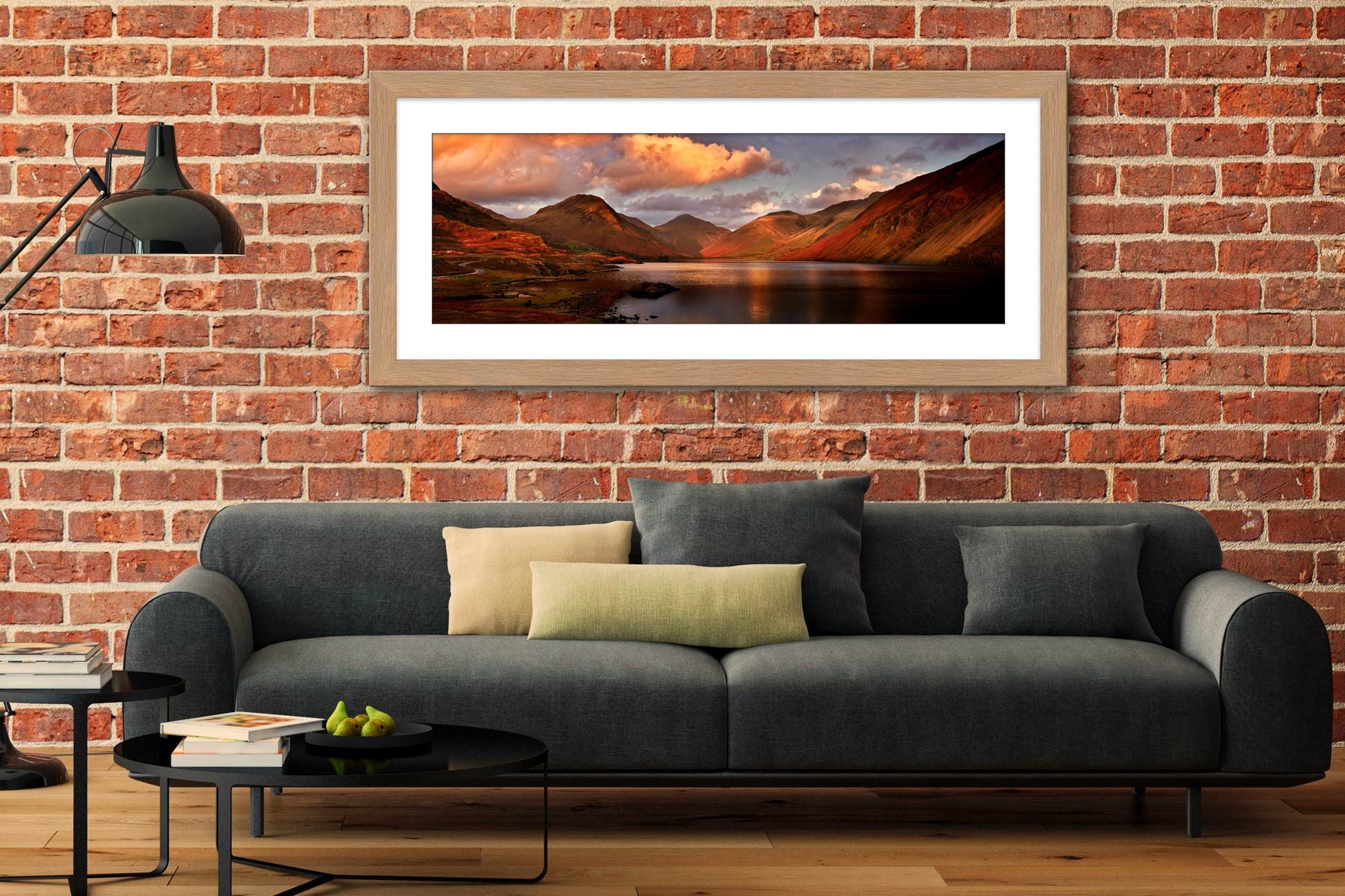 Dusk at Wast Water - Framed Print with Mount on Wall