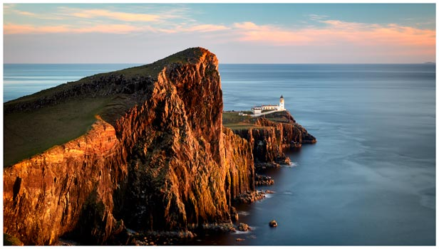 Golden Cliffs Neist Point Lighthouse - Isle of Skye Print