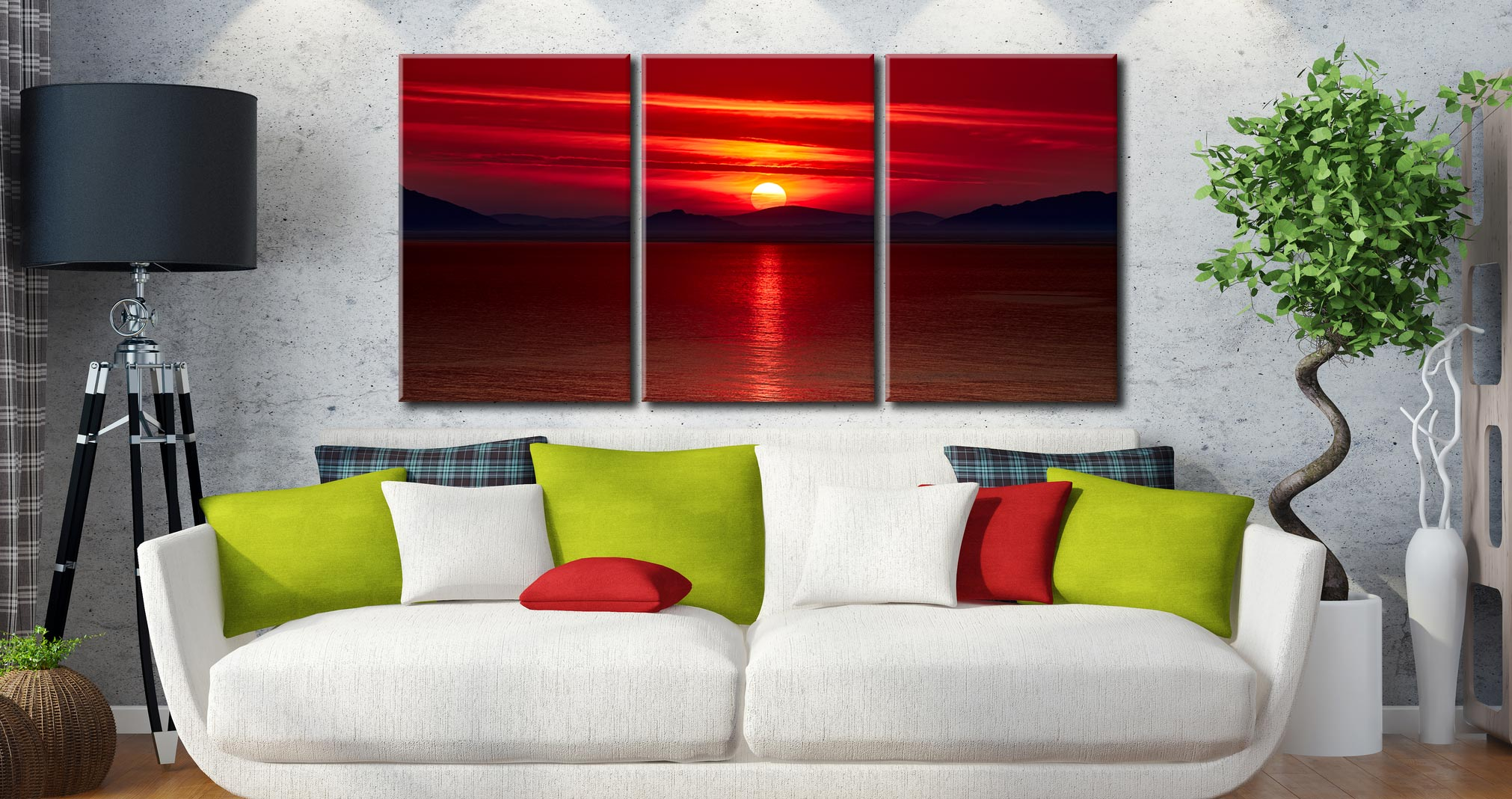 Red Sunset Over Outer Hebrides - 3 Panel Canvas on Wall