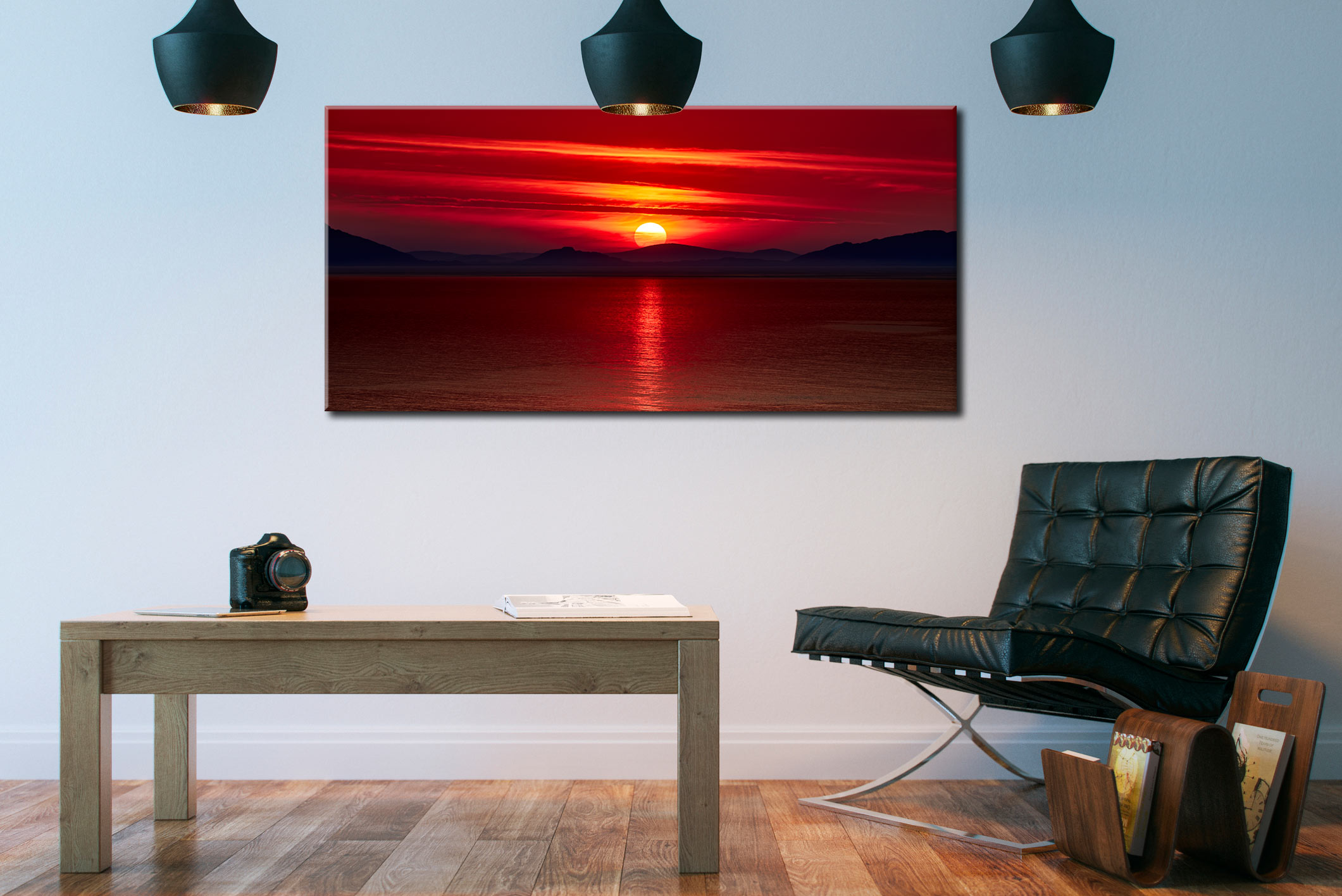 Red Sunset Over Outer Hebrides - Canvas Print on Wall