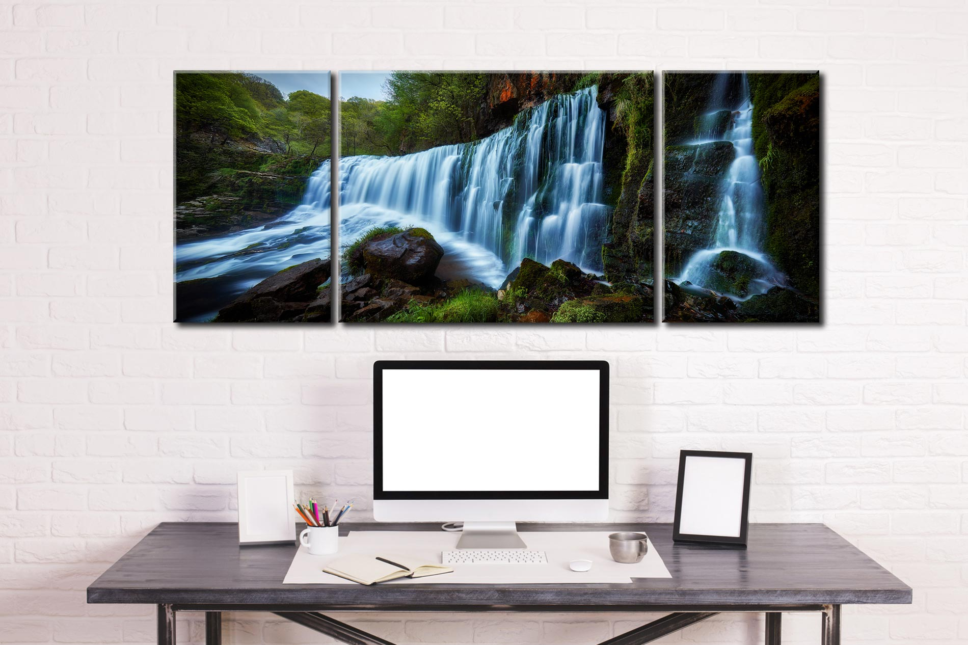 Upper Sgwd Isaf Clun-Gwyn Waterfall - 3 Panel Wide Mid Canvas on Wall