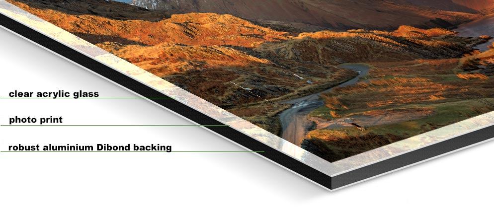 Winter Sun Over Wast Water - Fuji print under glossy acrylic glass on Aluminium dibond backing