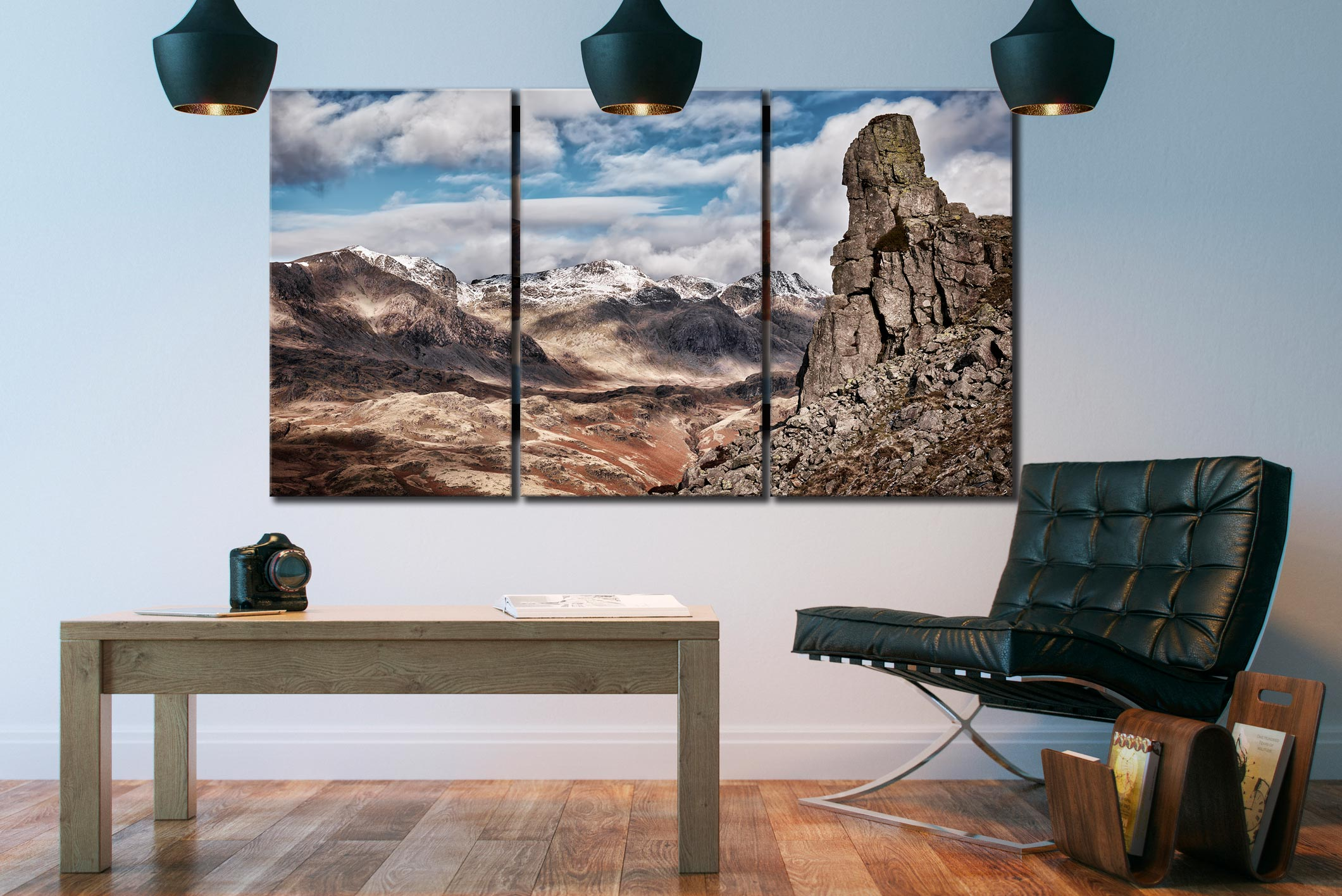 Eskdale Needle in Winter - 3 Panel Canvas on Wall