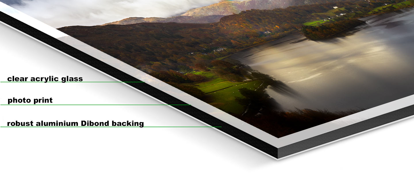 Clouds Mist Rainbow Grasmere - Fuji print under glossy acrylic glass on Aluminium dibond backing