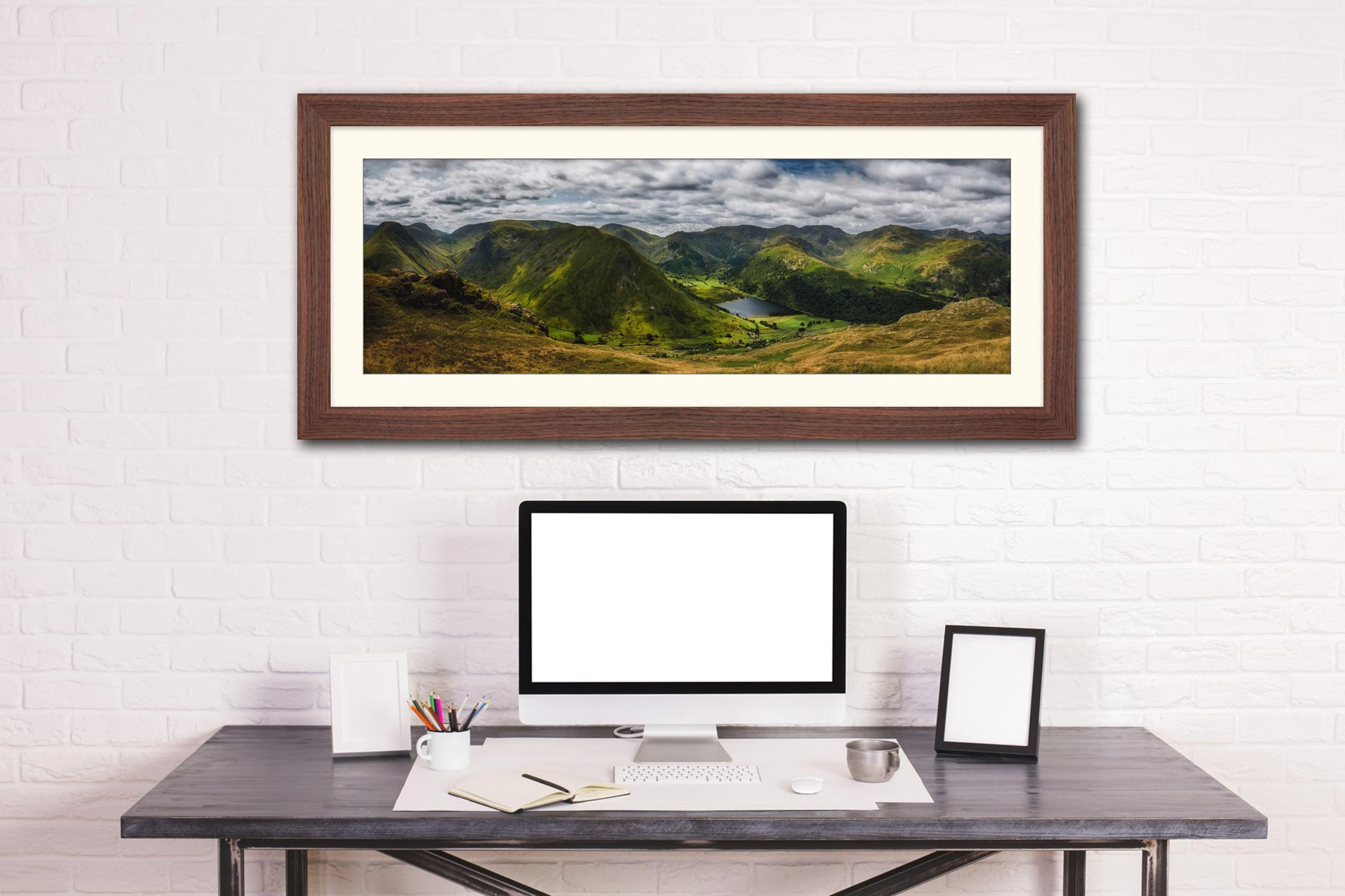 Satura Crag Panorama - Framed Print with Mount on Wall