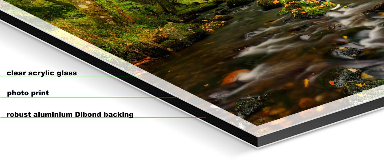 Start of Autumn River Rothay - Fuji print under glossy acrylic glass on Aluminium dibond backing
