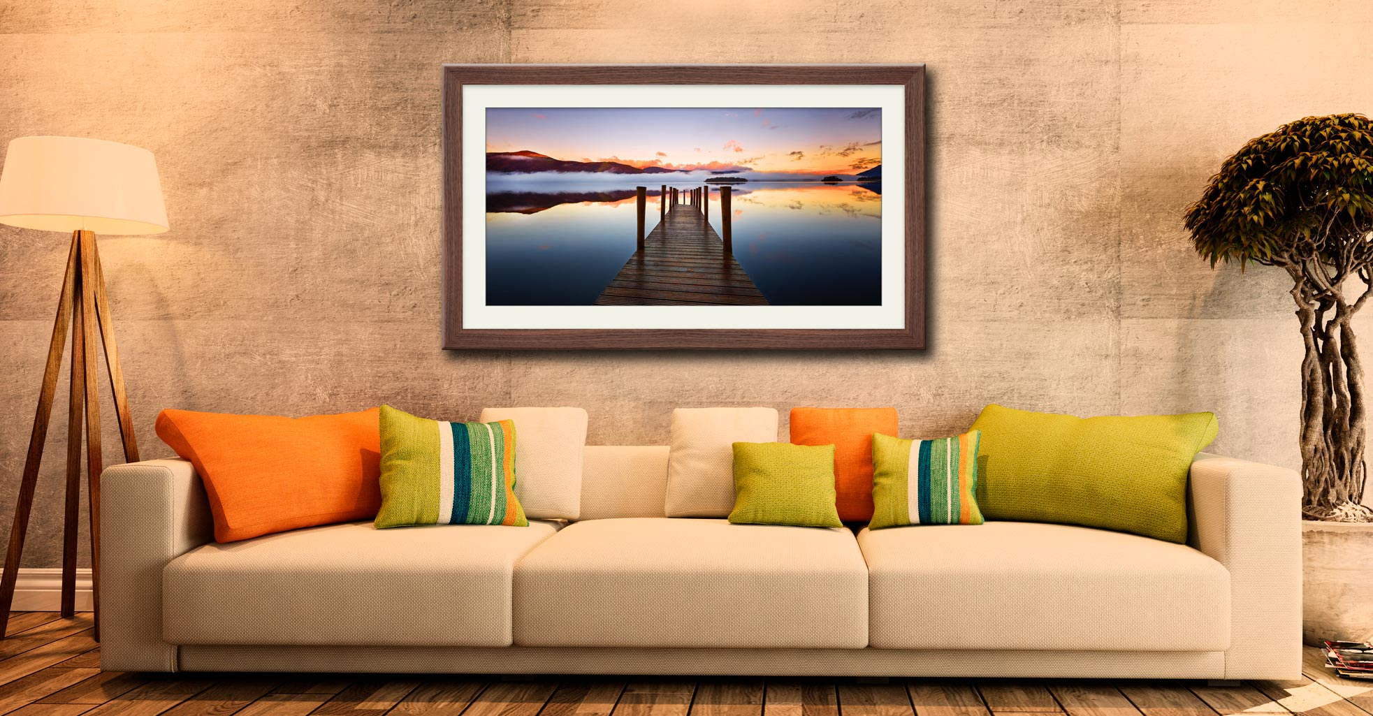 Ashness Jetty Dawn - Framed Print with Mount on Wall