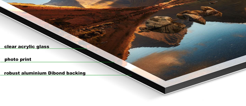 Morning Light on Scafell Pike - Fuji print under glossy acrylic glass on Aluminium dibond backing