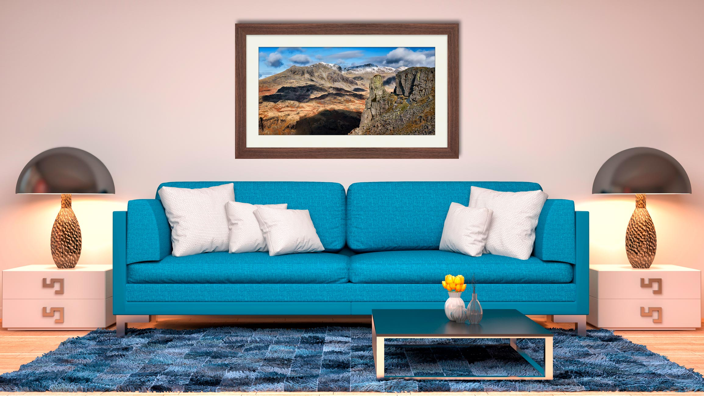 Eskdale Needle and Scafell Range - Framed Print with Mount on Wall