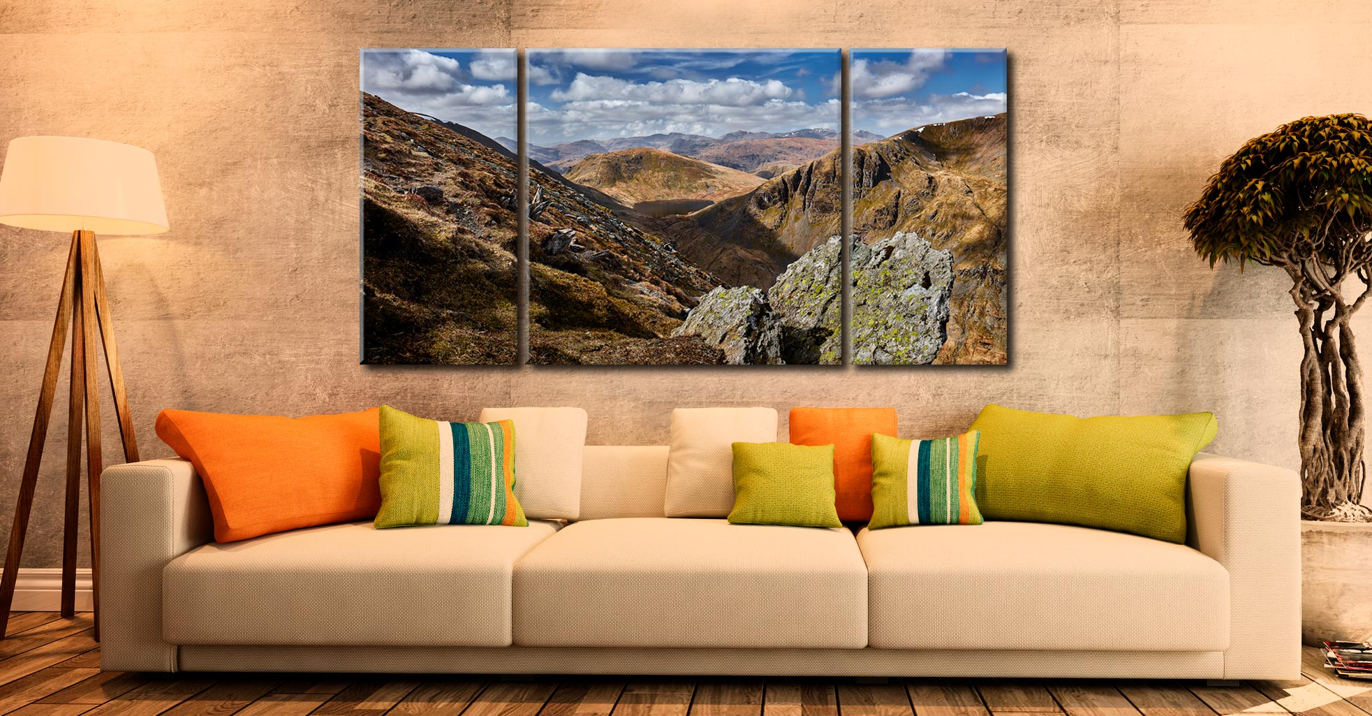 Grisedale Tarn in the Morning Sunshine - 3 Panel Wide Centre Canvas on Wall