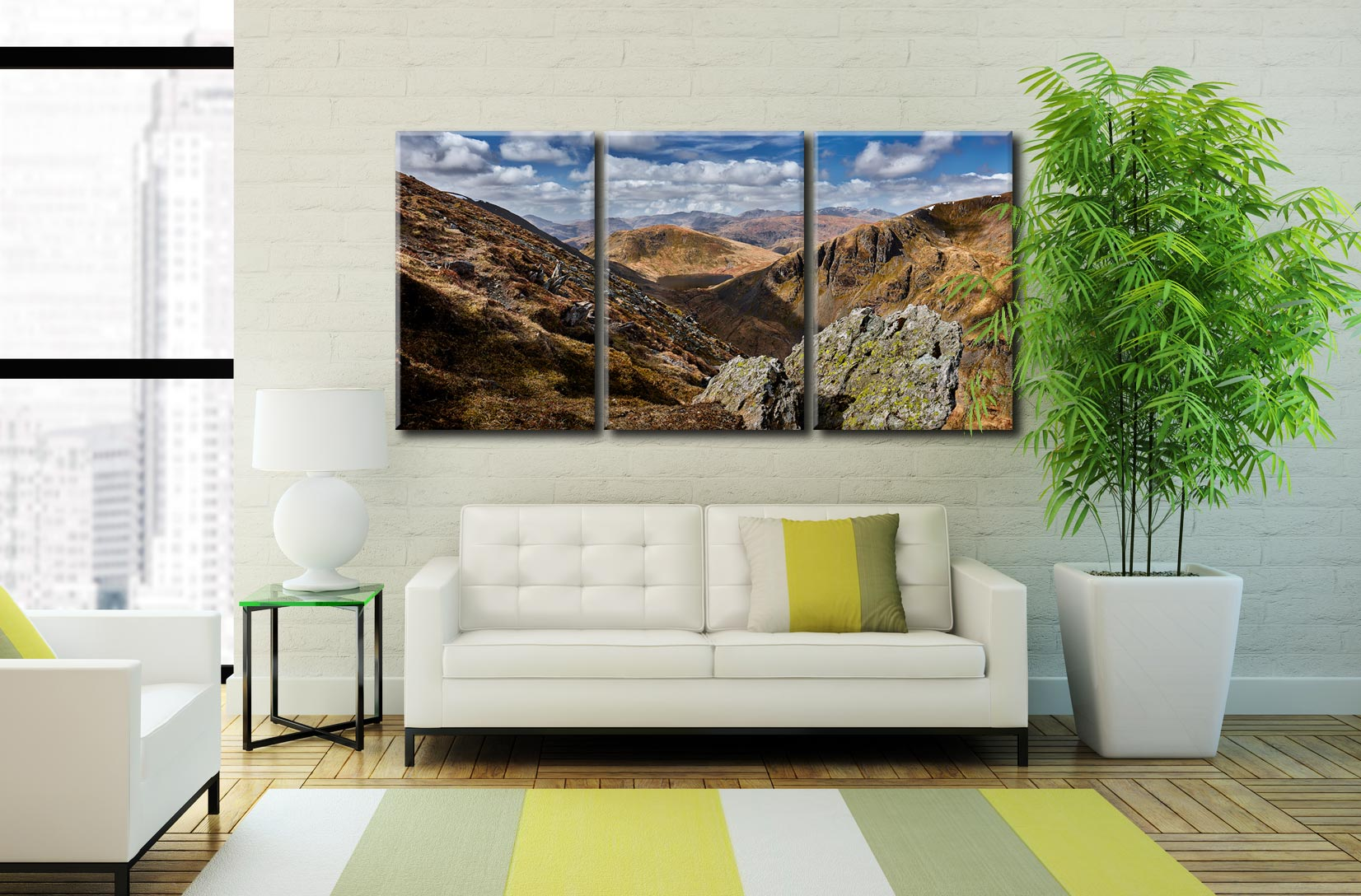 Grisedale Tarn in the Morning Sunshine - 3 Panel Canvas on Wall
