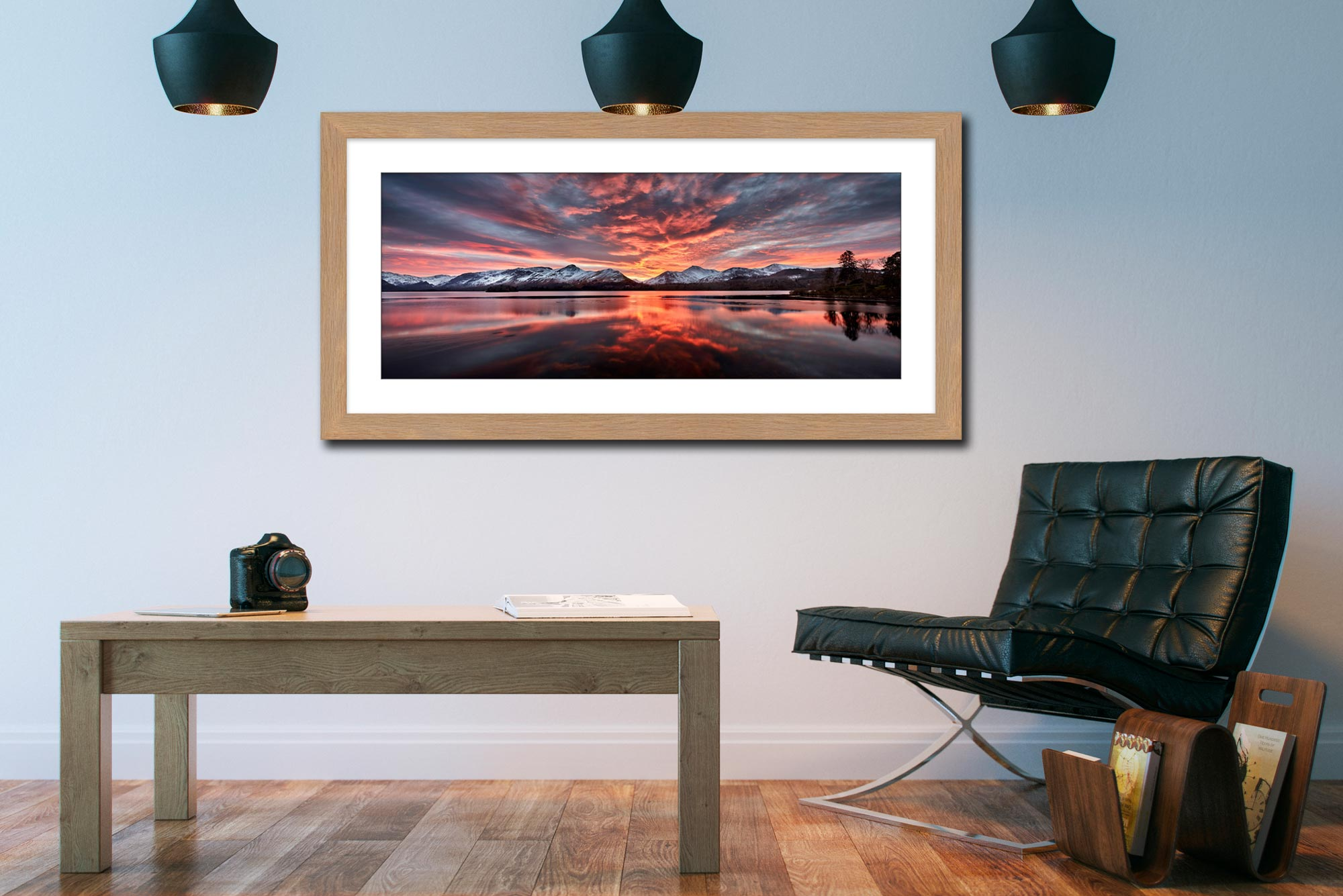 Red Skies Over Derwent Water - Framed Print with Mount on Wall