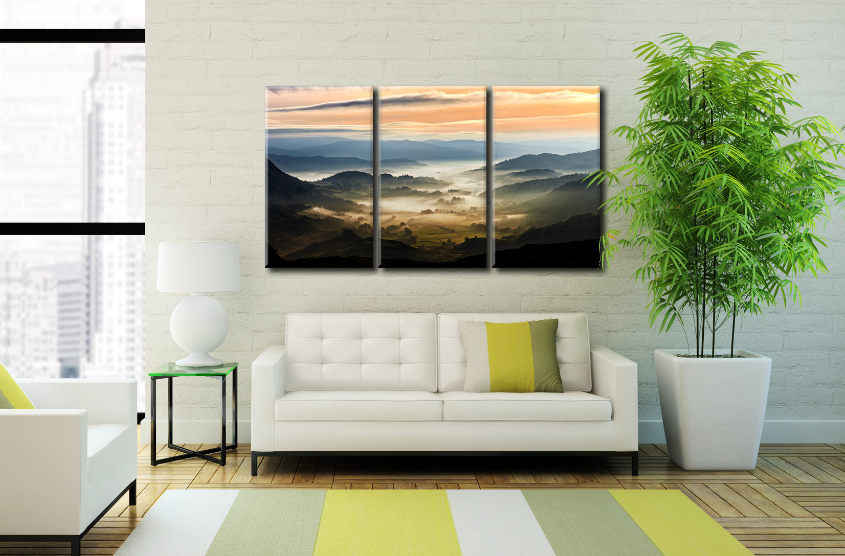 Little Langdale in the Mist - 3 Panel Canvas on Wall