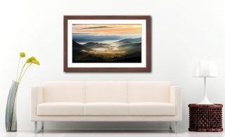 Little Langdale in the Mist - Framed Print with Mount on Wall