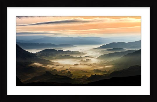 Little Langdale in the Mist - Framed Print with Mount