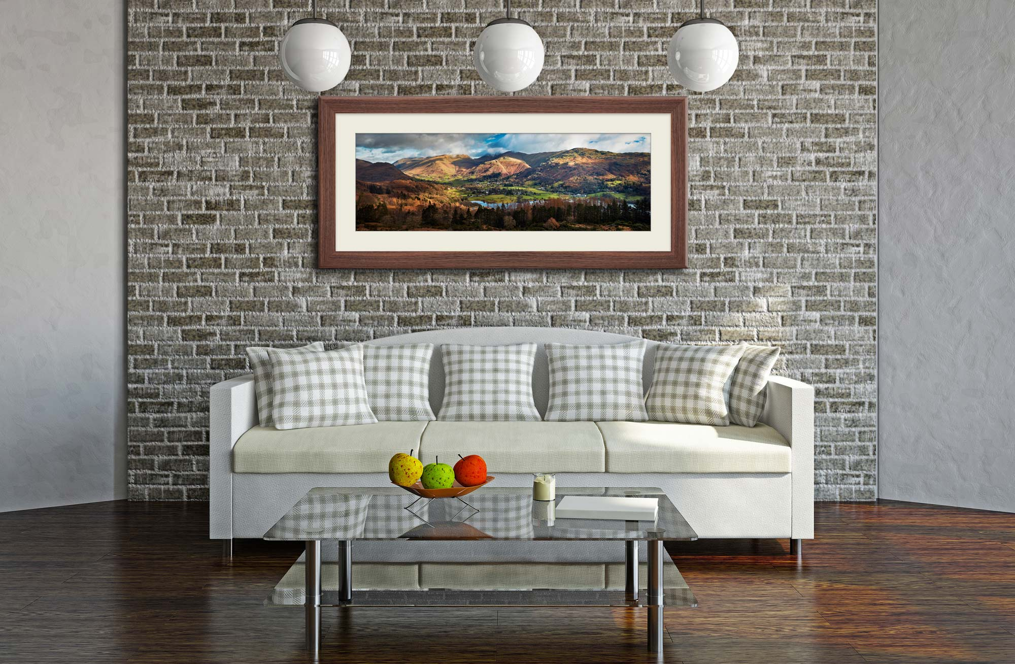 Grasmere Village Panorama - Framed Print with Mount on Wall