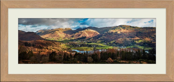 Grasmere Village Panorama - Framed Print with Mount