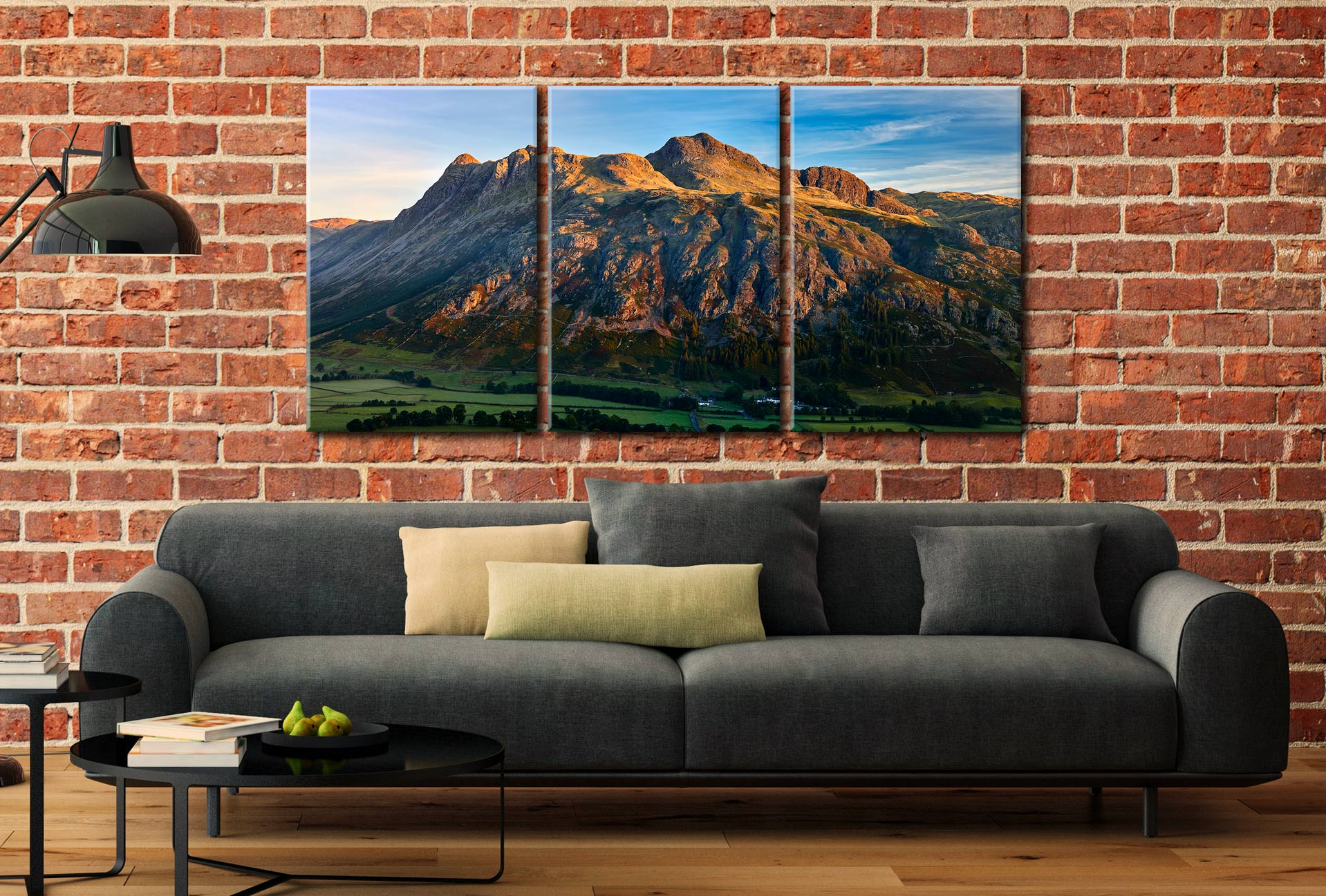 The Langdale Pikes in the Morning Light - 3 Panel Canvas on Wall