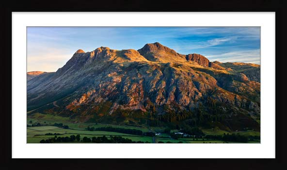 The Langdale Pikes in the Morning Light - Framed Print with Mount