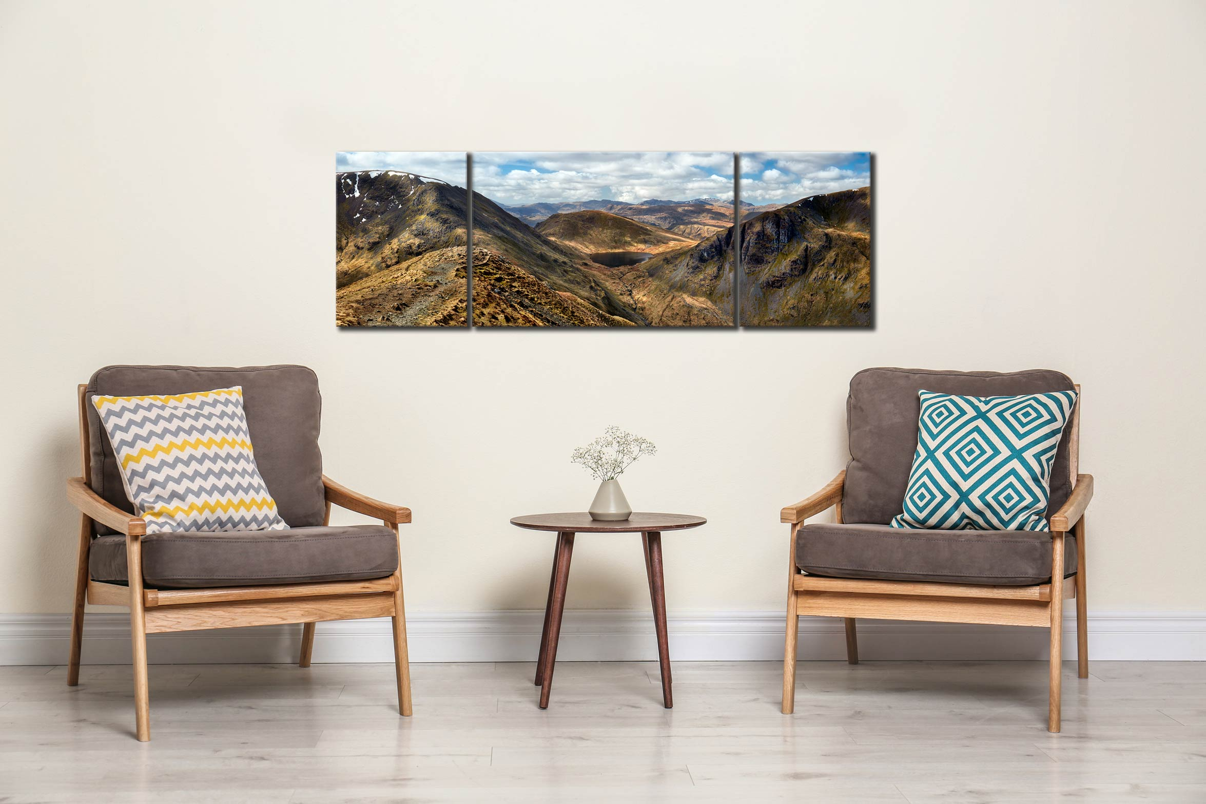 Deepdale Hause Panorama - 3 Panel Wide Mid Canvas on Wall