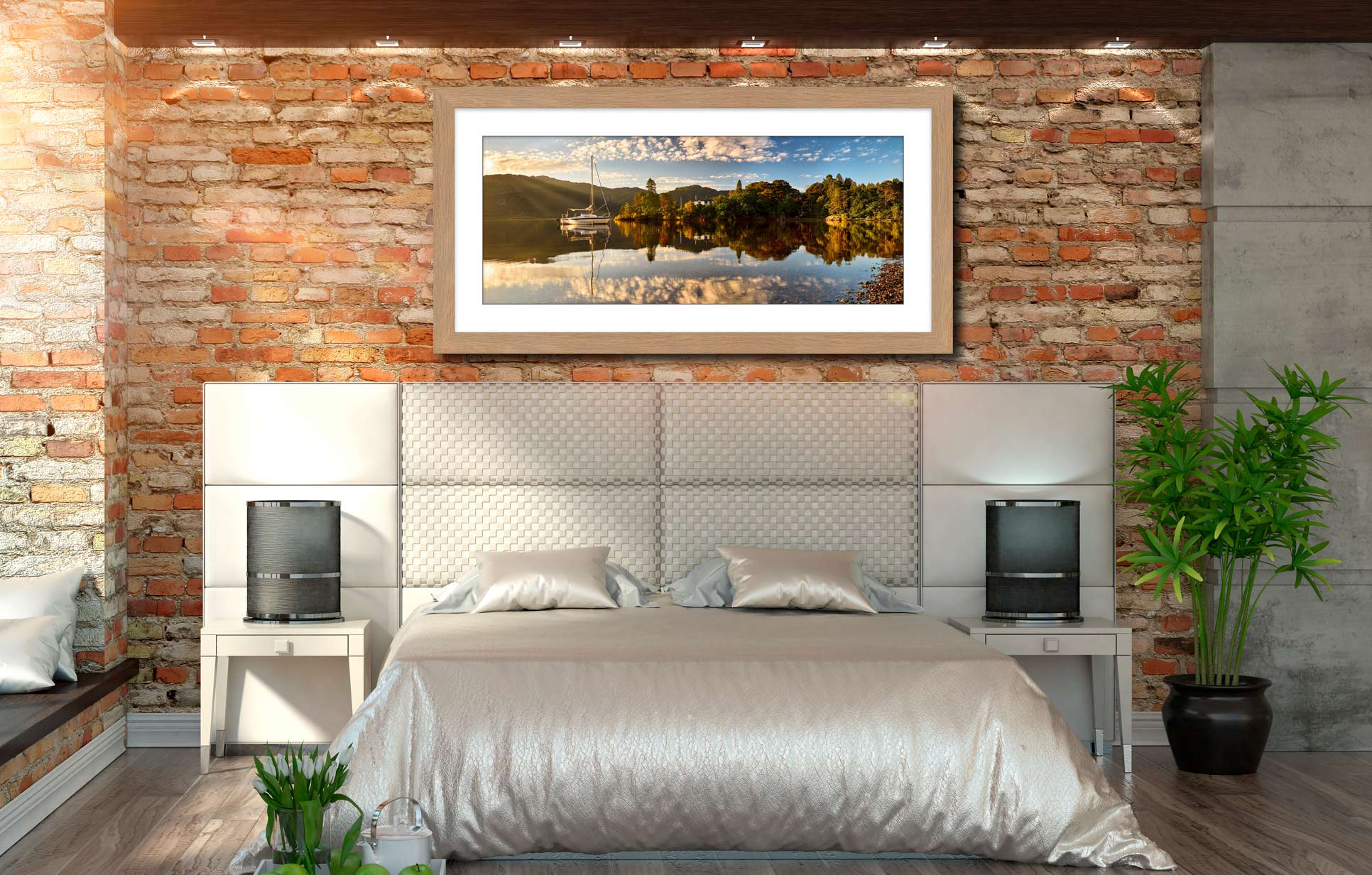 Brandelhow Point Reflections - Framed Print with Mount on Wall