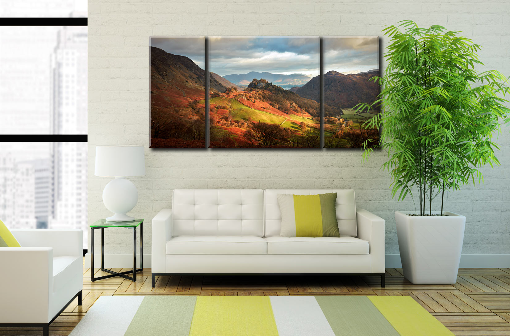 Castle Crag and Kings How - 3 Panel Wide Centre Canvas on Wall