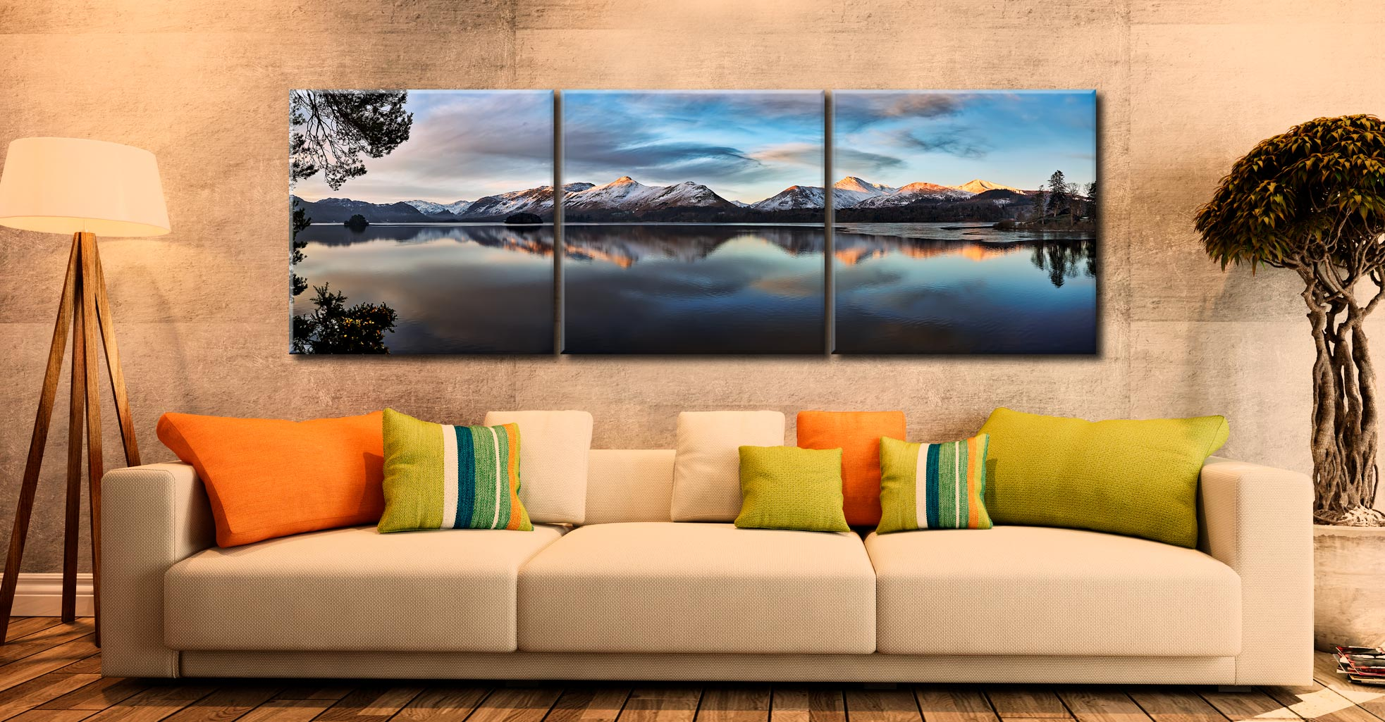 Cat Bells from Friars Crag - 3 Panel Canvas on Wall