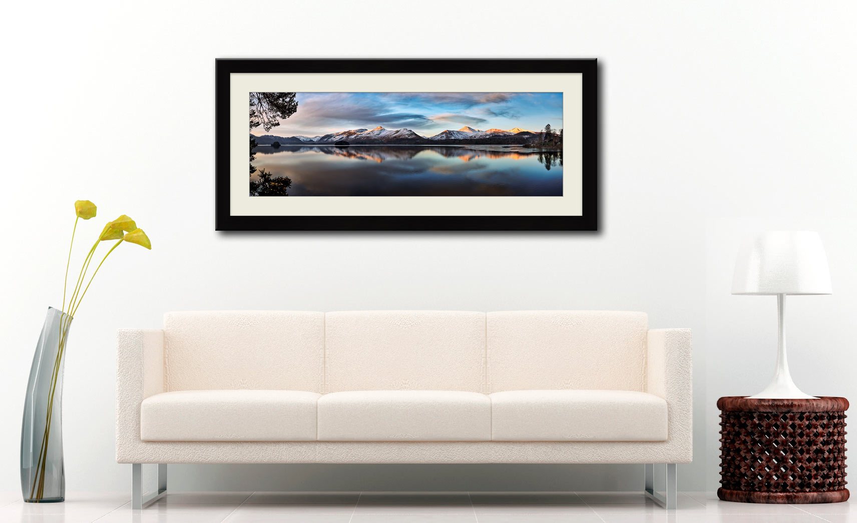 Cat Bells from Friars Crag - Framed Print with Mount on Wall