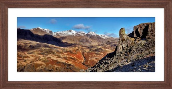 Eskdale Needle Winter Panorama - Framed Print with Mount
