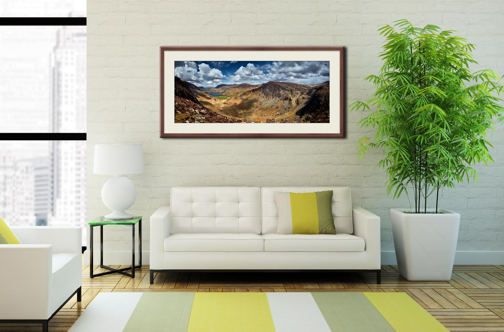 Fleetwith Pike and Buttermere Valley - Framed Print with Mount on Wall