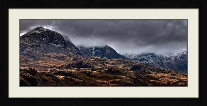 Scafell Mountains from Hardknott - Framed Print with Mount