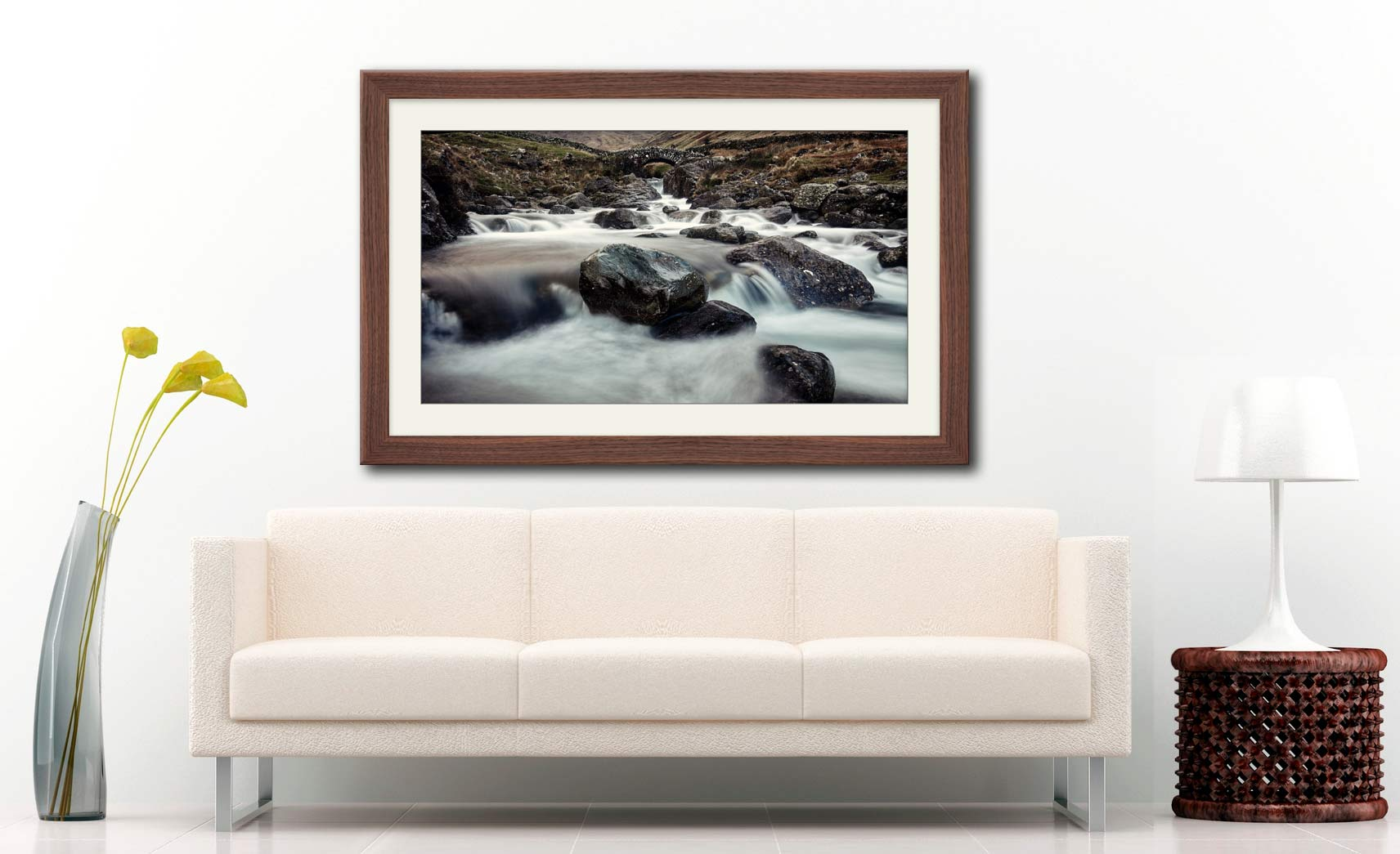 Grains Gill and Stockley Bridge - Framed Print with Mount on Wall