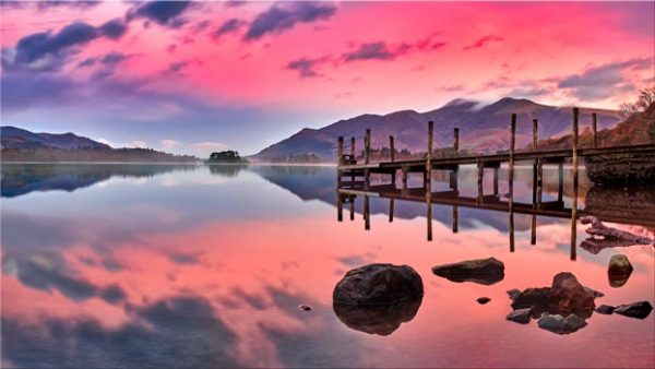 Pink Skies Derwent Water - Canvas Print