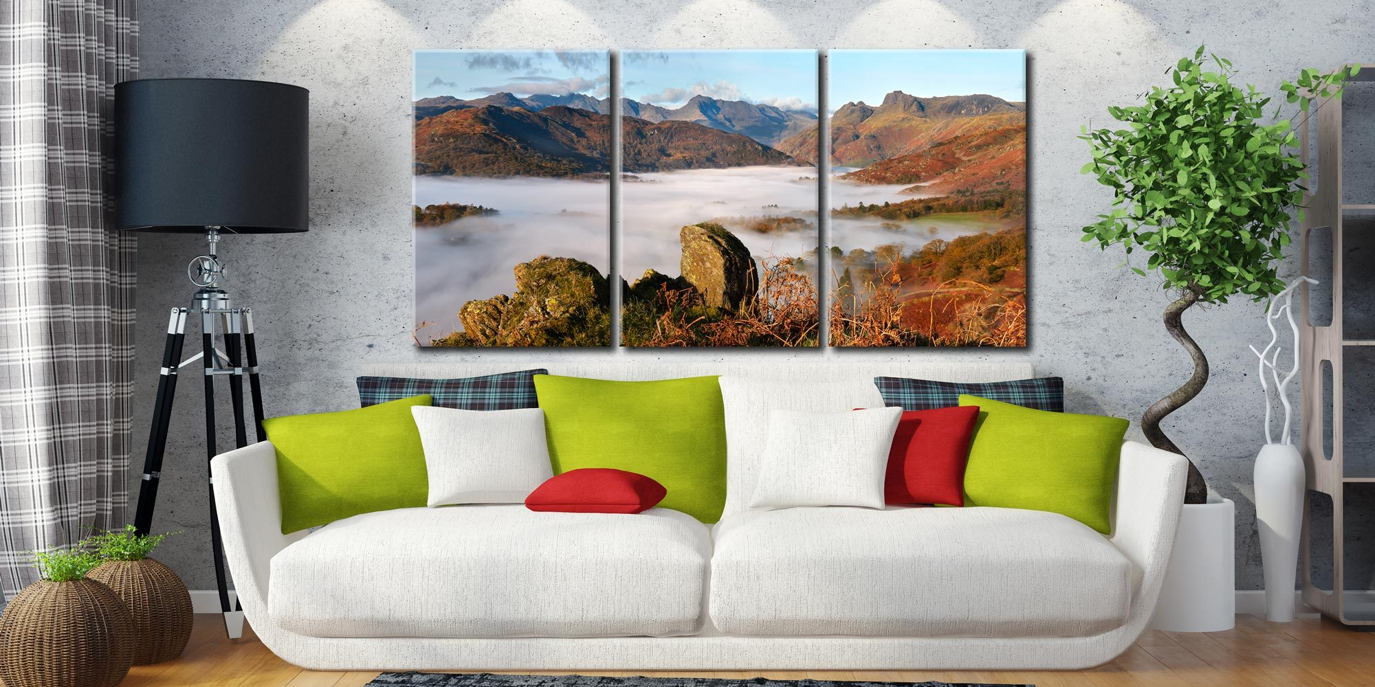 Langdale Valley Cloud Inversion - 3 Panel Canvas on Wall