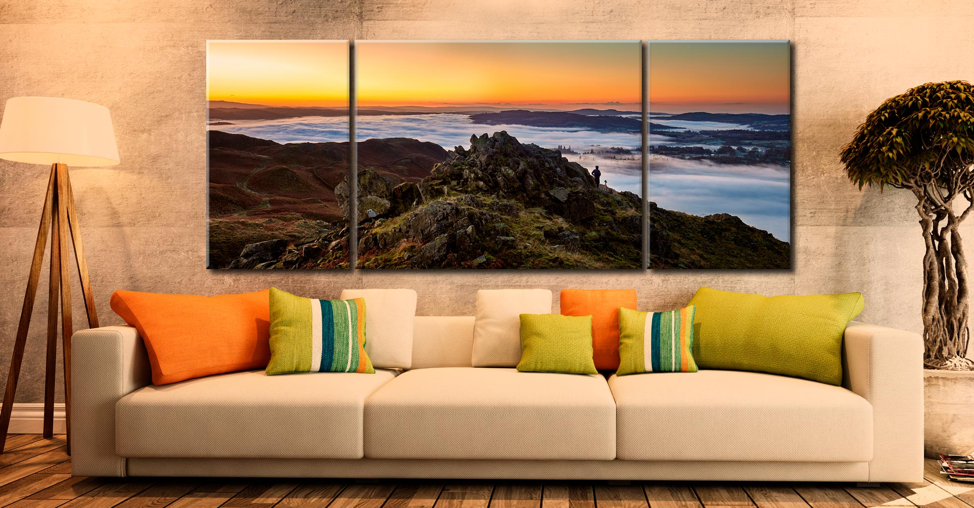 Lakes Under a Blanket - 3 Panel Wide Mid Canvas on Wall