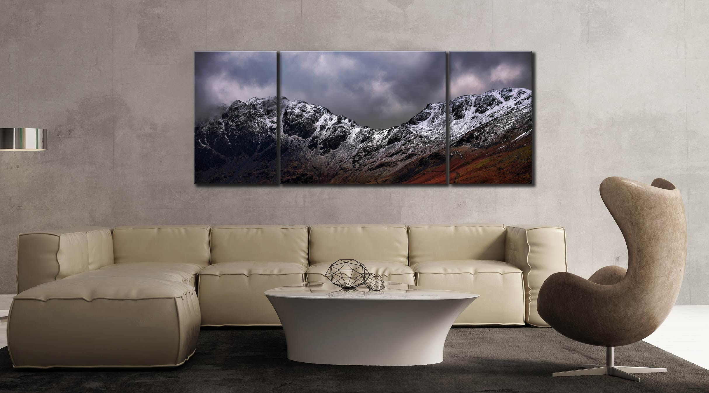 Hay Stacks and Scarth Gap Winter - 3 Panel Wide Mid Canvas on Wall