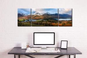 Buttermere Winter Panorama - 3 Panel Wide Mid Canvas on Wall