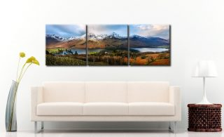 Buttermere Winter Panorama - 3 Panel Canvas on Wall