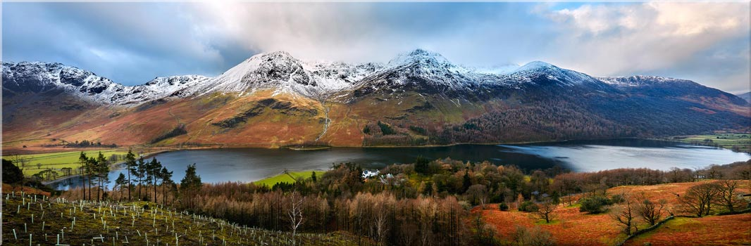 Buttermere Winter Panorama - Canvas Prints Print
