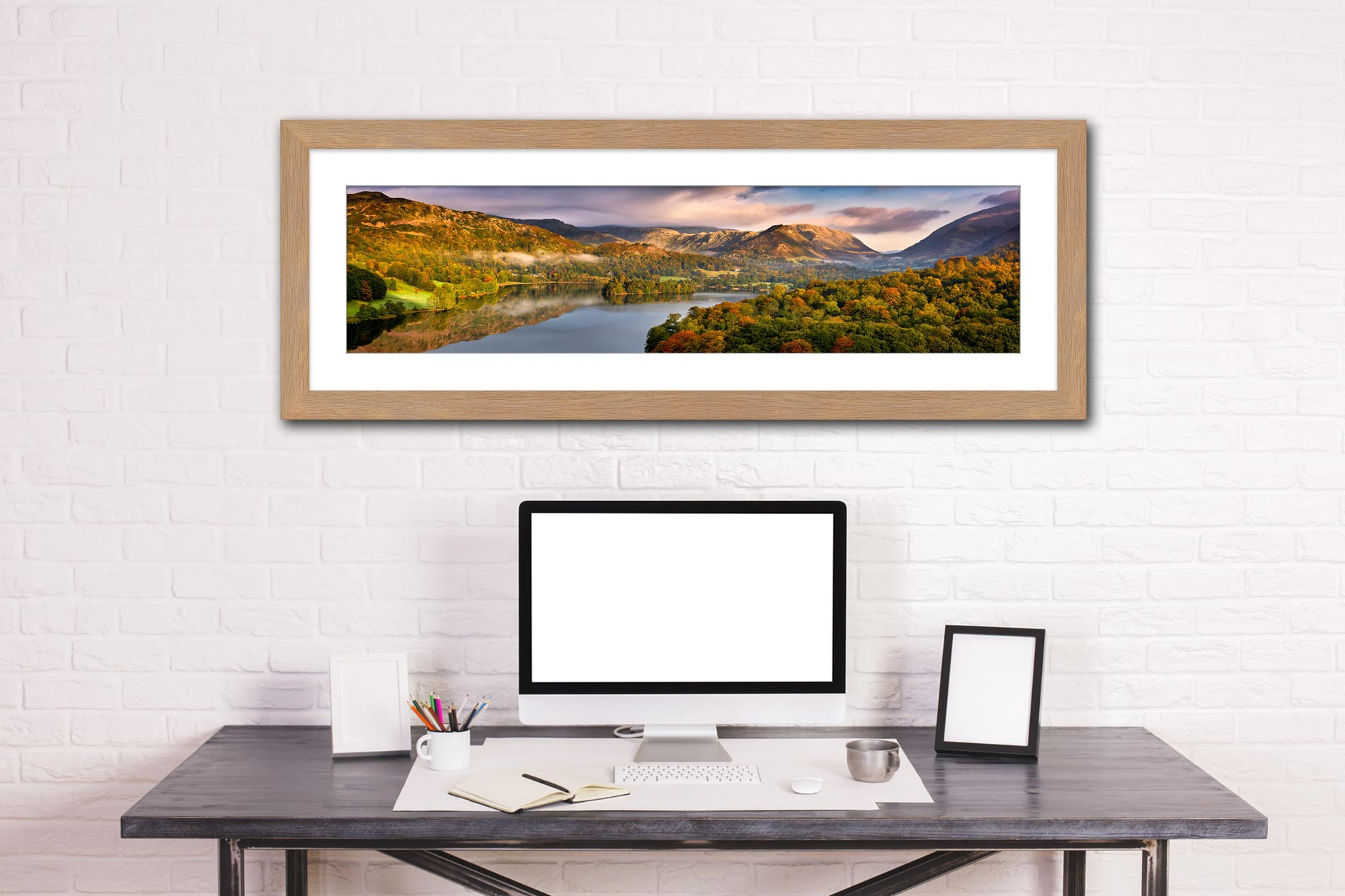Grasmere Autumn Morning - Framed Print with Mount on Wall