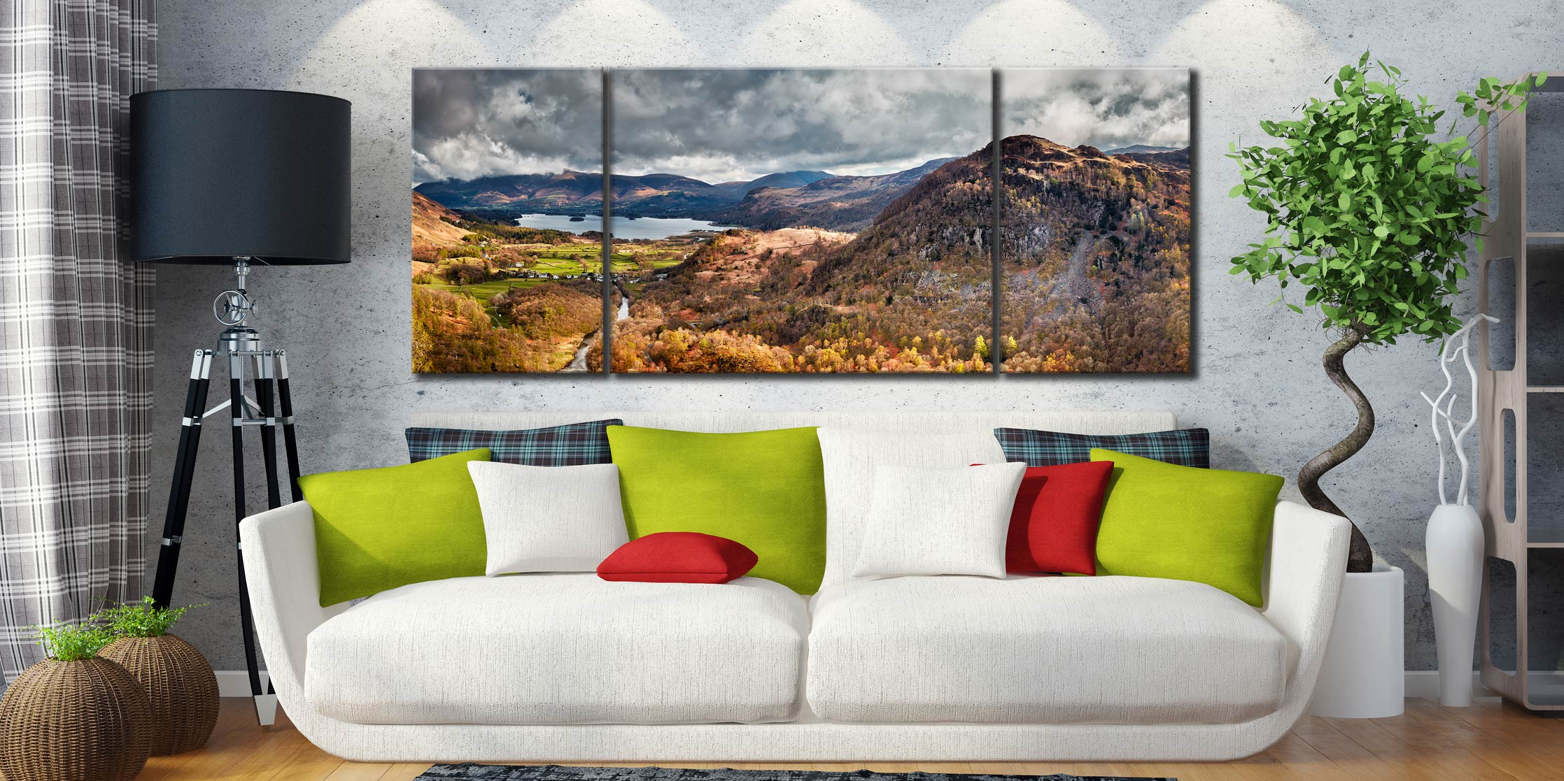 Kings How and Derwent Water  - 3 Panel Wide Mid Canvas on Wall