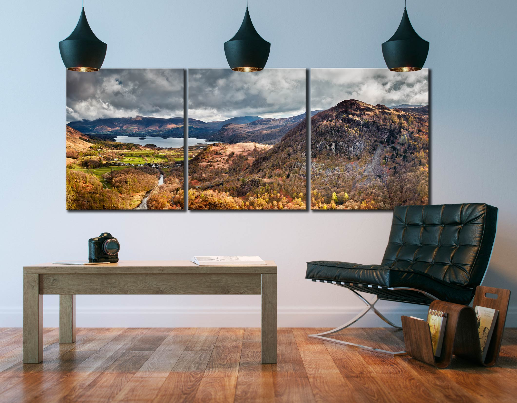 Kings How and Derwent Water  - 3 Panel Canvas on Wall