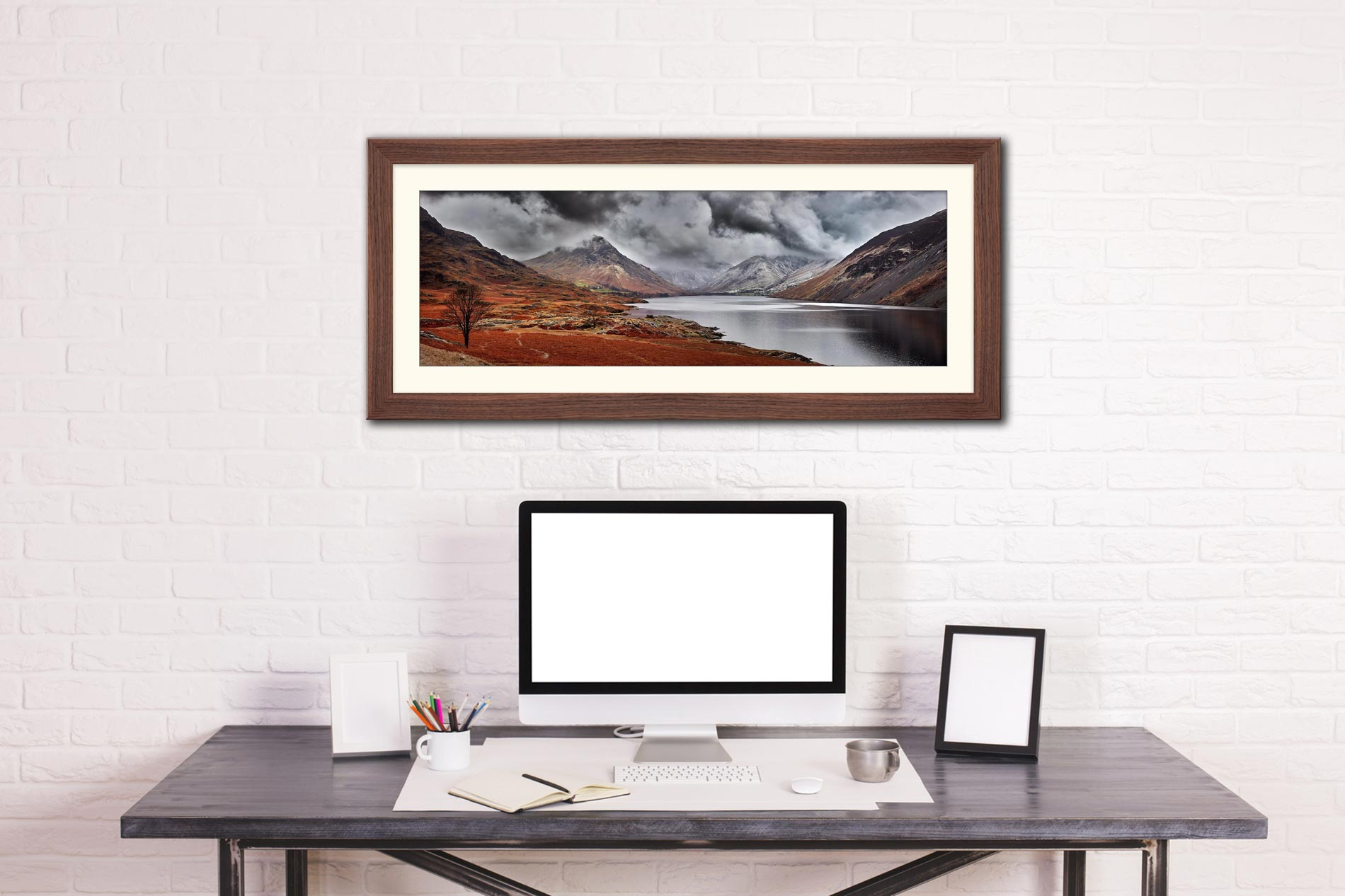 Dark Skies Over Wast Water - Framed Print with Mount on Wall