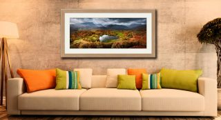 Loughrigg Tarn in Autumn Sunshine - Framed Print with Mount on Wall